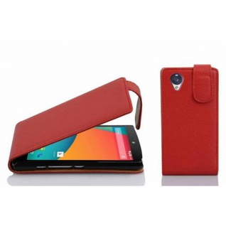 Cadorabo Hülle für LG NEXUS 5 in INFERNO ROT - Handyhülle im Flip Design aus strukturiertem Kunstleder - Case Cover Schutzhülle Etui Tasche Book Klapp Style