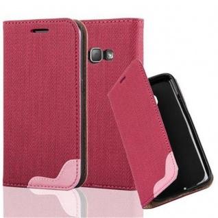 Cadorabo Hülle für Samsung Galaxy J1 2016 - Hülle in PINKY ROT ? Handyhülle in Bast-Optik mit Kartenfach und Standfunktion - Case Cover Schutzhülle Etui Tasche Book Klapp Style