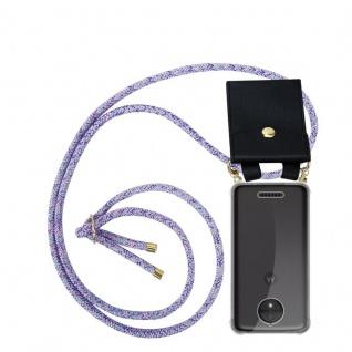 Cadorabo Handy Kette für Motorola MOTO C PLUS in UNICORN Silikon Necklace Umhänge Hülle mit Gold Ringen, Kordel Band Schnur und abnehmbarem Etui Schutzhülle