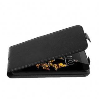 Cadorabo Hülle für LG K8 2016 in OXID SCHWARZ - Handyhülle im Flip Design aus strukturiertem Kunstleder - Case Cover Schutzhülle Etui Tasche Book Klapp Style
