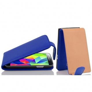 Cadorabo Hülle für Samsung Galaxy S5 MINI / S5 MINI DUOS - Hülle in KÖNIGS BLAU ? Handyhülle aus strukturiertem Kunstleder im Flip Design - Case Cover Schutzhülle Etui Tasche