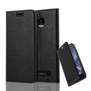 Cadorabo Hülle für Motorola MOTO Z2 in NACHT SCHWARZ Handyhülle mit Magnetverschluss, Standfunktion und Kartenfach Case Cover Schutzhülle Etui Tasche Book Klapp Style