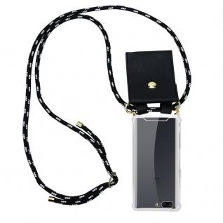 Cadorabo Handy Kette für OnePlus 5 in SCHWARZ SILBER Silikon Necklace Umhänge Hülle mit Gold Ringen, Kordel Band Schnur und abnehmbarem Etui Schutzhülle