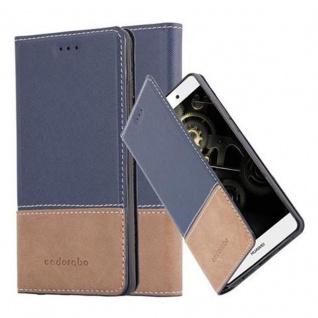 Cadorabo Hülle für Huawei P8 LITE 2015 in BLAU BRAUN - Handyhülle mit Magnetverschluss, Standfunktion und Kartenfach - Case Cover Schutzhülle Etui Tasche Book Klapp Style