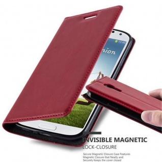 Cadorabo Hülle für Samsung Galaxy S4 in APFEL ROT - Handyhülle mit Magnetverschluss, Standfunktion und Kartenfach - Case Cover Schutzhülle Etui Tasche Book Klapp Style