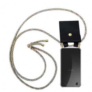 Cadorabo Handy Kette für Sony Xperia L1 in RAINBOW Silikon Necklace Umhänge Hülle mit Gold Ringen, Kordel Band Schnur und abnehmbarem Etui Schutzhülle