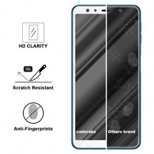 Cadorabo Vollbild Panzer Folie für Samsung Galaxy A7 2018 - Schutzfolie in TRANSPARENT mit WEISS - Gehärtetes (Tempered) Display-Schutzglas in 9H Härte mit 3D Touch Kompatibilität - Vorschau 3