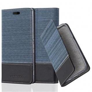 Cadorabo Hülle für Sony Xperia M4 AQUA in DUNKEL BLAU SCHWARZ - Handyhülle mit Magnetverschluss, Standfunktion und Kartenfach - Case Cover Schutzhülle Etui Tasche Book Klapp Style