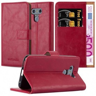 Cadorabo Hülle für LG G6 in WEIN ROT - Handyhülle mit Magnetverschluss, Standfunktion und Kartenfach - Case Cover Schutzhülle Etui Tasche Book Klapp Style