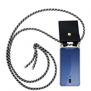 Cadorabo Handy Kette für Huawei MATE 10 LITE in DUNKELBLAU GELB - Silikon Necklace Umhänge Hülle mit Gold Ringen, Kordel Band Schnur und abnehmbarem Etui ? Schutzhülle