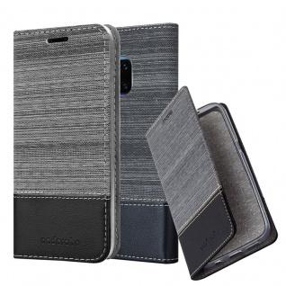 Cadorabo Hülle für Huawei MATE 20 PRO in GRAU SCHWARZ - Handyhülle mit Magnetverschluss, Standfunktion und Kartenfach - Case Cover Schutzhülle Etui Tasche Book Klapp Style