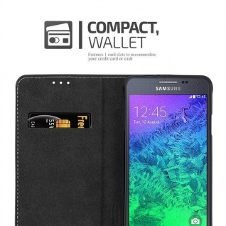 Cadorabo Hülle für Samsung Galaxy ALPHA in SCHWARZ BRAUN ? Handyhülle mit Magnetverschluss, Standfunktion und Kartenfach ? Case Cover Schutzhülle Etui Tasche Book Klapp Style - Vorschau 5