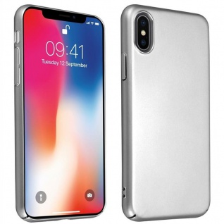 Cadorabo Hülle für Apple iPhone X / XS in METALL SILBER Hardcase Handyhülle aus Plastik gegen Kratzer und Stöße Schutzhülle Bumper Ultra Slim Back Case Hard Cover