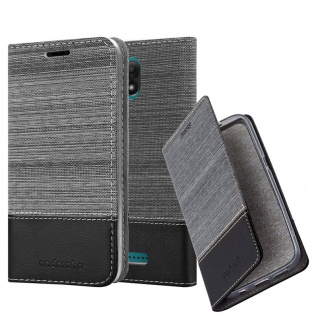 Cadorabo Hülle für WIKO JERRY 3 in GRAU SCHWARZ - Handyhülle mit Magnetverschluss, Standfunktion und Kartenfach - Case Cover Schutzhülle Etui Tasche Book Klapp Style