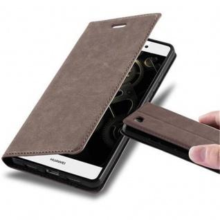 Cadorabo Hülle für Huawei P8 LITE 2015 in KAFFEE BRAUN - Handyhülle mit Magnetverschluss, Standfunktion und Kartenfach - Case Cover Schutzhülle Etui Tasche Book Klapp Style