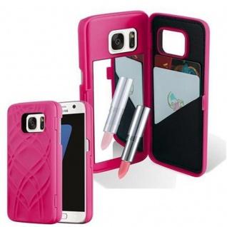 Cadorabo - TPU Hard Cover für Samsung Galaxy S7 mit Muster, Spiegel und 3 Kartenfächer ? Case Schutzhülle in PINK