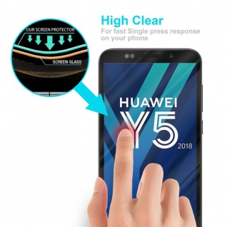 Cadorabo Vollbild Panzer Folie für Huawei Y5 2018 - Schutzfolie in TRANSPARENT mit SCHWARZ - Gehärtetes (Tempered) Display-Schutzglas in 9H Härte mit 3D Touch Kompatibilität - Vorschau 5