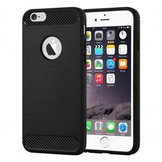 Cadorabo Hülle für Apple iPhone 6 / iPhone 6S - Hülle in BRUSHED SCHWARZ - Handyhülle aus TPU Silikon in Edelstahl-Karbonfaser Optik - Silikonhülle Schutzhülle Ultra Slim Soft Back Cover Case Bumper