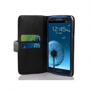 Cadorabo Hülle für Samsung Galaxy S3 / S3 NEO in KAVIAR SCHWARZ ? Handyhülle aus glattem Kunstleder mit Standfunktion und Kartenfach ? Case Cover Schutzhülle Etui Tasche Book Klapp Style