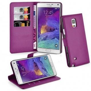 Cadorabo Hülle für Samsung Galaxy NOTE 4 in MANGAN VIOLETT Handyhülle mit Magnetverschluss, Standfunktion und Kartenfach Case Cover Schutzhülle Etui Tasche Book Klapp Style