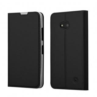 Cadorabo Hülle für Nokia Lumia 640 in CLASSY SCHWARZ - Handyhülle mit Magnetverschluss, Standfunktion und Kartenfach - Case Cover Schutzhülle Etui Tasche Book Klapp Style