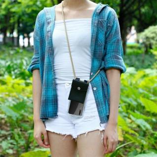 Cadorabo Handy Kette für Huawei P20 in GLÄNZEND BRAUN - Silikon Necklace Umhänge Hülle mit Silber Ringen, Kordel Band Schnur und abnehmbarem Etui - Schutzhülle - Vorschau 4