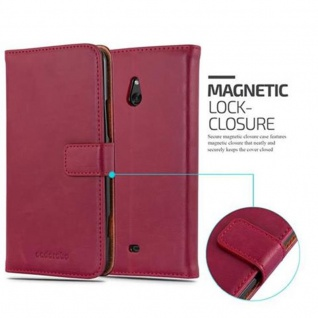 Cadorabo Hülle für Nokia Lumia 1320 in WEIN ROT - Handyhülle mit Magnetverschluss, Standfunktion und Kartenfach - Case Cover Schutzhülle Etui Tasche Book Klapp Style - Vorschau 2