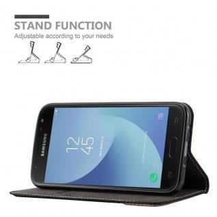 Cadorabo Hülle für Samsung Galaxy J3 2017 in SCHWARZ BRAUN ? Handyhülle mit Magnetverschluss, Standfunktion und Kartenfach ? Case Cover Schutzhülle Etui Tasche Book Klapp Style - Vorschau 4