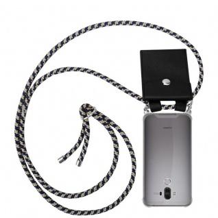 Cadorabo Handy Kette für Huawei MATE 9 in DUNKELBLAU GELB - Silikon Necklace Umhänge Hülle mit Silber Ringen, Kordel Band Schnur und abnehmbarem Etui - Schutzhülle