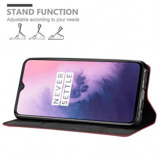Cadorabo Hülle für OnePlus 7 in APFEL ROT Handyhülle mit Magnetverschluss, Standfunktion und Kartenfach Case Cover Schutzhülle Etui Tasche Book Klapp Style - Vorschau 3