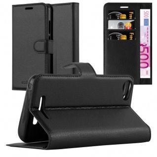 Cadorabo Hülle für WIKO JERRY 2 in PHANTOM SCHWARZ - Handyhülle mit Magnetverschluss, Standfunktion und Kartenfach - Case Cover Schutzhülle Etui Tasche Book Klapp Style