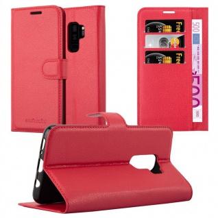 Cadorabo Hülle für Samsung Galaxy S9 PLUS in KARMIN ROT - Handyhülle mit Magnetverschluss, Standfunktion und Kartenfach - Case Cover Schutzhülle Etui Tasche Book Klapp Style