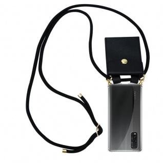 Cadorabo Handy Kette für Oppo Find X2 in SCHWARZ Silikon Necklace Umhänge Hülle mit Gold Ringen, Kordel Band Schnur und abnehmbarem Etui Schutzhülle