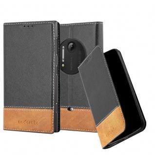 Cadorabo Hülle für Nokia Lumia 1020 in SCHWARZ BRAUN - Handyhülle mit Magnetverschluss, Standfunktion und Kartenfach - Case Cover Schutzhülle Etui Tasche Book Klapp Style