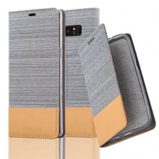 Cadorabo Hülle für Samsung Galaxy NOTE 8 in HELL GRAU BRAUN - Handyhülle mit Magnetverschluss, Standfunktion und Kartenfach - Case Cover Schutzhülle Etui Tasche Book Klapp Style