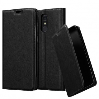 Cadorabo Hülle für LG Q7a in NACHT SCHWARZ - Handyhülle mit Magnetverschluss, Standfunktion und Kartenfach - Case Cover Schutzhülle Etui Tasche Book Klapp Style