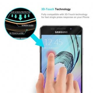 Cadorabo Vollbild Panzer Folie für Samsung Galaxy A5 2016 - Schutzfolie in TRANSPARENT mit SCHWARZ - Gehärtetes (Tempered) Display-Schutzglas in 9H Härte mit 3D Touch Kompatibilität - Vorschau 5
