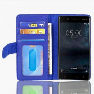 Cadorabo Hülle für Nokia 5 2017 in NEPTUN BLAU Handyhülle mit Magnetverschluss und 3 Kartenfächern Case Cover Schutzhülle Etui Tasche Book Klapp Style