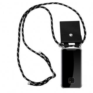 Cadorabo Handy Kette für Huawei MATE 20 PRO in SCHWARZ SILBER - Silikon Necklace Umhänge Hülle mit Silber Ringen, Kordel Band Schnur und abnehmbarem Etui - Schutzhülle
