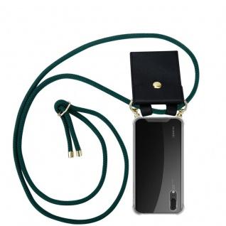 Cadorabo Handy Kette für Huawei P20 in ARMEE GRÜN Silikon Necklace Umhänge Hülle mit Gold Ringen, Kordel Band Schnur und abnehmbarem Etui Schutzhülle