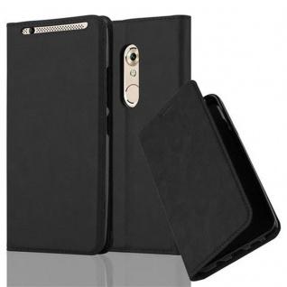 Cadorabo Hülle für ZTE Axon 7 in NACHT SCHWARZ - Handyhülle mit Magnetverschluss, Standfunktion und Kartenfach - Case Cover Schutzhülle Etui Tasche Book Klapp Style