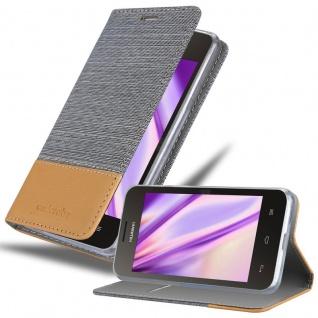 Cadorabo Hülle für Huawei Y330 in HELL GRAU BRAUN - Handyhülle mit Magnetverschluss, Standfunktion und Kartenfach - Case Cover Schutzhülle Etui Tasche Book Klapp Style