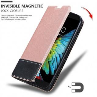 Cadorabo Hülle für LG K10 2016 in ROSÉ GOLD SCHWARZ - Handyhülle mit Magnetverschluss, Standfunktion und Kartenfach - Case Cover Schutzhülle Etui Tasche Book Klapp Style - Vorschau 3
