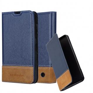 Cadorabo Hülle für Nokia Lumia 550 in DUNKEL BLAU BRAUN - Handyhülle mit Magnetverschluss, Standfunktion und Kartenfach - Case Cover Schutzhülle Etui Tasche Book Klapp Style