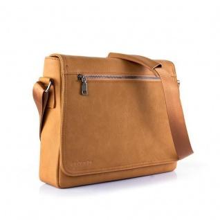 Cadorabo - Laptop / Tablet Tasche für 13'' Zoll Notebooks aus hochwertigem Kunstleder mit Zubehörfächer, Schultergurt und Tabletfach - Notebook MacBook Umhängetasche Aktentasche Tragetasche Computertasche in KARAMELL BRAUN