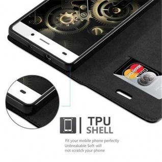 Cadorabo Hülle für Huawei P8 LITE 2015 in NACHT SCHWARZ - Handyhülle mit Magnetverschluss, Standfunktion und Kartenfach - Case Cover Schutzhülle Etui Tasche Book Klapp Style - Vorschau 3