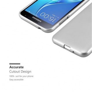 Cadorabo Hülle für Samsung Galaxy J3 / J3 DUOS 2016 in METALLIC SILBER - Handyhülle aus flexiblem TPU Silikon - Silikonhülle Schutzhülle Ultra Slim Soft Back Cover Case Bumper - Vorschau 2
