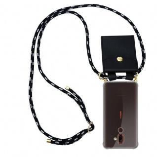 Cadorabo Handy Kette für Nokia 7 PLUS in SCHWARZ SILBER Silikon Necklace Umhänge Hülle mit Gold Ringen, Kordel Band Schnur und abnehmbarem Etui Schutzhülle