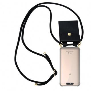Cadorabo Handy Kette für ZTE Blade V8 in SCHWARZ - Silikon Necklace Umhänge Hülle mit Gold Ringen, Kordel Band Schnur und abnehmbarem Etui ? Schutzhülle