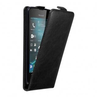Cadorabo Hülle für Nokia Lumia 550 in NACHT SCHWARZ Handyhülle im Flip Design mit unsichtbarem Magnetverschluss Case Cover Schutzhülle Etui Tasche Book Klapp Style